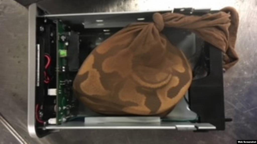 TSA phát hiện trăn trong khoan chứa ổ cứng máy tính tại sân bay Miami, Florida. Photo TSA