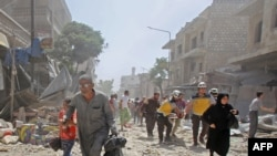 Последствия бомбардировки города Маарет-аль-Нуман в Идлибе, 3 июня 2019 года