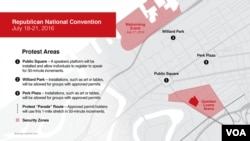 Protest areas around the Republican National Convention