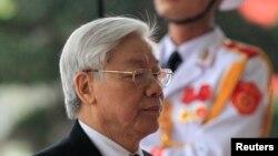 Tổng bí thư Nguyễn Phú Trọng trong lễ kỷ niệm 85 năm ngày thành lập đảng cộng sản Việt Nam tại Hà Nội, ngày 2/2/2015.