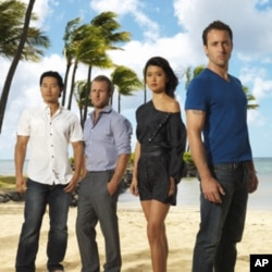 "(From right) Alex O'Loughlin, Grace Park, Scott Caan and Daniel Dae Kim of the CBS series ""Hawaii Five-0"""