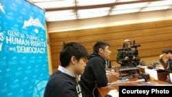 周永康(右)及岑敖暉日內瓦人權與民主高峰會上應邀演講(香港學聯facebook圖片)