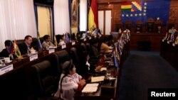 Sesi Senat Bolivia di gedung Kongres di La Paz, Bolivia, 20 November 2019.