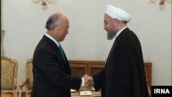 دیدار یوکیا آمانو رئیس آژانس بینالمللی انرژی اتمی با حسن روحانی رئیس جمهوری ایران - ۲۶ مرداد ۱۳۹۳ تهران