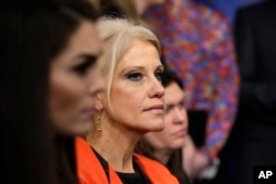 FILE - Counselor to the president Kellyanne Conway listens during the daily White House briefing at the White House in Washington, Jan. 23, 2017.