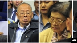 Combination photo shows four former Khmer Rouge leaders during their trial at the Extraordinary Chambers in the Courts of Cambodia on the outskirts of Phnom Penh, June 27, 2011.