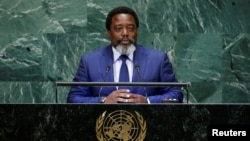 Joseph Kabila Kabange, President of the Democratic Republic of the Congo addresses the 73rd session of the United Nations General Assembly at U.N. headquarters in New York, Sept. 25, 2018.