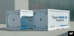 In this image released on Tuesday, Nov. 11, 2020, the first Mobile Hybrid Container Solution made by MECOTEC with an active deep cooling technology for transport, storage and distribution of COVID-19-Vaccines down to - 80°C. (MECOTEC/news aktuell via AP)