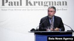 """Dobitnik Nobelove nagrade za ekonomiju Pol Krugman je danas u Hotelu """"Hajat"""" održao predavanje o uzrocima ekonomske krize i merama za njeno prevazilaženje"""