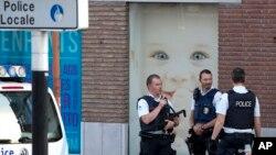 Cảnh sát Bỉ tại hiện trường vụ tấn công hôm 7/8.