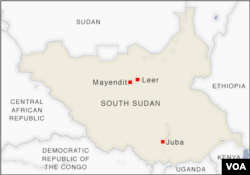 Map of Mayendit and Leer counties, South Sudan