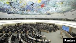 Overview of the U.N. Human Rights Council at the United Nations in Geneva. (File)