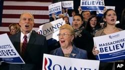 6일 매사추세츠 주 공화당 예비선거 결과가 발표되자, 환호하는 미트 롬니 후보 지지자들.