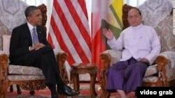Presidentët Obama,Thein Sein në Shtëpinë e Bardhë