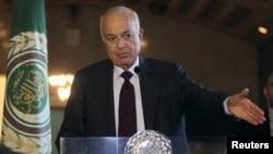 Ketua Liga Arab Nabil Elaraby dalam suatu konferensi pers di Kairo, 20 Oktober 2013 (Foto: dok).