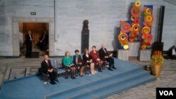 2010年奧斯陸諾貝爾和平獎頒獎典禮現場,主席台上的空椅子是留給劉曉波的(美國之音王南拍攝)