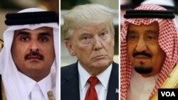 از راست پادشاه عربستان، پرزیدنت ترامپ و امیر قطر