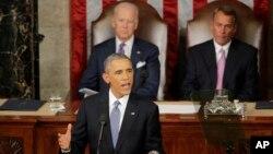 Tổng thống Hoa Kỳ Barack Obama đọc diễn văn về Tình trạng Liên bang tại Trụ sở Quốc hội ngày 20/1/2015.