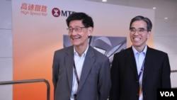 港鐵行政總裁梁國權(左)及車務總監劉天成。(美國之音湯惠芸)