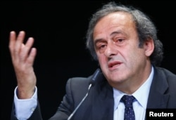 UEFA President Michel Platini addresses a news conference after a UEFA meeting in Zurich, Switzerland, May 28, 2015.