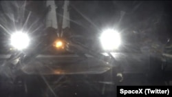 Ths image posted to Twitter by SpaceX shows an unmanned Falcon 9 rocket that landed May 6, 2016 on a platform in the Atlantic Ocean.