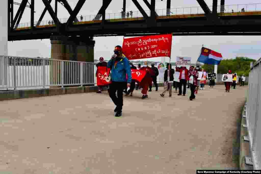 အေမရိကန္ျပည္ေထာင္စု ကန္တပ္ကီျပည္နယ္က ျမန္မာ့အေရးဆႏၵျပပဲြ။ (ဧၿပီ ၁၇၊ ၂၀၂၁။ ဓာတ္ပုံ - Save Myanmar Campaign of Kentucky)