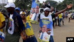 This file photo taken on July 18, 2016 shows supporters of the Independent Democratic Action (ADI) party candidate Evaristo Carvalho in Sao Tome and Principe.