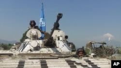 Un char de la Monusco (Mission des Nations Unies au Congo).