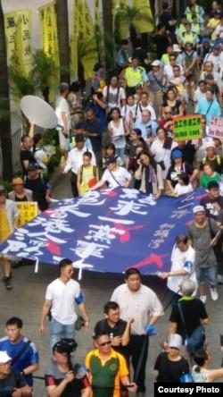 透析者提供的港人預測民主的抗議活動場景。