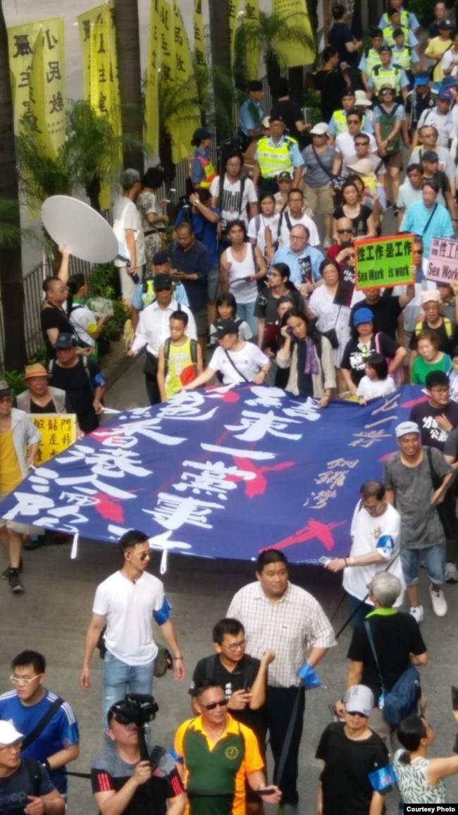 受访者拍摄的港人争取民主的抗议活动场面。 (受访者提供)