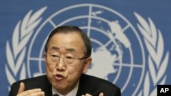 UN Secretary-General Ban Ki-moon addresses a news conference at the United Nations in Geneva, April 12, 2012.