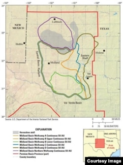 Oil explorers say they have made a major discovery of shale oil in the Permian Basin of Texas and New Mexico. (USGS)