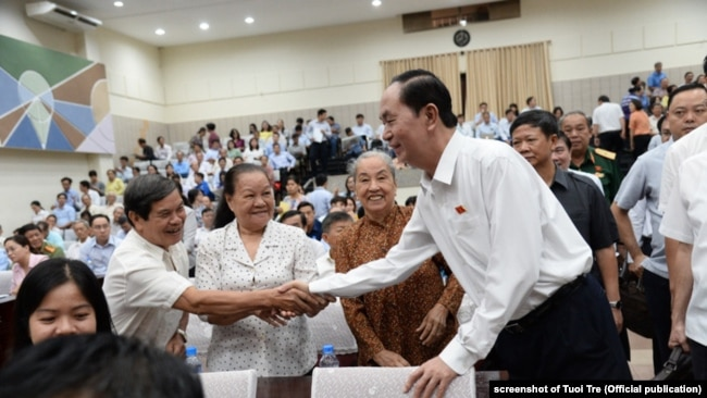 Chủ tịch Trần Đại Quang gặp cử tri ở thành phố HCM, tháng 6/2018.