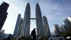 မေလးရွားႏိုင္ငံ Kuala Lumpur ၿမိဳ႕က Twin Towers။ (မတ္ ၁၈၊ ၂၀၂၀)