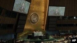 1일 뉴욕 유엔본부에서 열린 제 67차 유엔총회에서 북한 대표로 연설하는 박길연 외무성 부상.