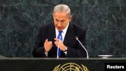 PM Israel Benjamin Netanyahu menggunakan kesempatan di majelis umum PBB untuk mengecam program nuklir Iran, Selasa (1/10).