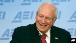 FILE - Former Vice President Dick Cheney speaks at the American Enterprise Institute in Washington, Sept. 10, 2014. Newly declassified documents show that a quarter-century ago, the then-defense secretary told allies the U.S. should not consider military action against North Korea as it could jeopardize diplomatic efforts to stop its nuclear arms program.