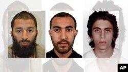 یوسف زغبه (نفر اول از راست)، رشید رضوان، و خرم شازاد بات (چپ) سه عامل حملات تروریستی ۱۳ خرداد ۱۳۹۶ در لندن معرفی شده اند.