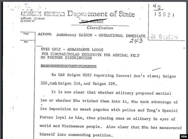 """Công điện tối mật của Bộ Ngoại Giao Mỹ yêu cầu """"có hành động lập tức,"""" có đoạn """"bây giờ thì đã rõ có phải quân đội đề nghị lệnh thiết quân luật hay ông Nhu nhử họ vào cái bẫy ấy…"""""""