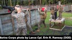 កងកម្លាំងម៉ារីនអាមេរិកាំងរបស់កងពលMarine Wing Support Detachment លេខ៣១ ដើរលើខ្សែក្នុងពីហ្វឹកហាត់មួយនៅក្នុងបន្ទាយទាហាន Marine Corps Recruit Depot Parris Island រដ្ឋ South Carolina កាលពីថ្ងៃទី១២ ខែសីហា ឆ្នាំ២០១៧។