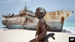 An official with the anti-piracy force in the semi-autonomous Puntland region, says, April 16, 2017, foreign naval forces in international waters shot dead two pirates and wounded another when the bandits attempted to hijack a ship.
