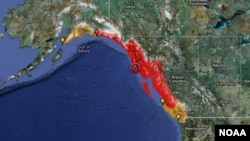 La zona coloreada de la imagen muestra la zona de Alaska y Canadá potencialmente afectada por el temblor.