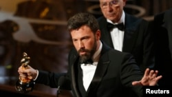 "Director and producer Ben Affleck accepts the Oscar for best picture for ""Argo"" at the 85th Academy Awards in Hollywood, California, Feb. 24, 2013."