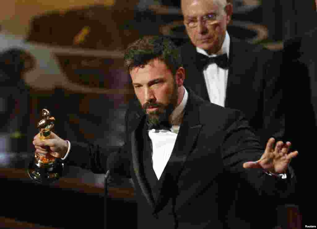 "Director and producer Ben Affleck accepts the Oscar for best picture for ""Argo"" at the 85th Academy Awards in Hollywood, California."