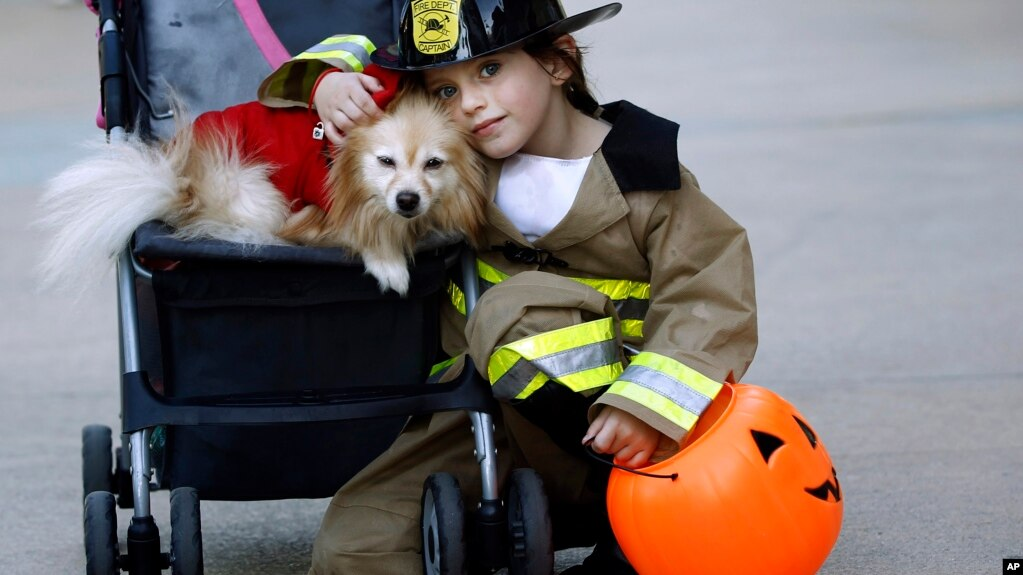 Kacy Crain Poses With Her Dog While Taking A Break From Collecting Halloween Candy At The