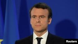 Le président français Emmannuel Macron donne son discours de victoire à Paris, France, le 7 mai 2017.