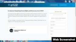 """在美国的香港人组织在网上发起写信运动,游说所属地区国会议员加入成为""""2019年香港人权和民主法案""""草案共同提案人。(网上截图)"""