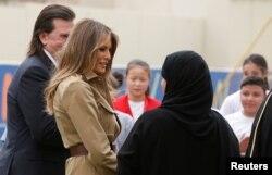First lady Melania Trump visits American International School in Riyadh, Saudi Arabia, May 21, 2017.