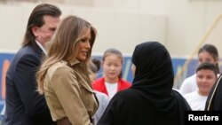 First lady Melania Trump visits American International School in Riyadh, Saudi Arabia, May 21, 2017.