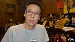 抗议学生领导人林飞帆(美国之音 申华拍摄)